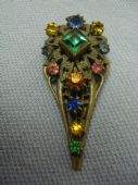 1920's Bohemian Filigree Dress Clip with Square Faux Emerald and Multicoloured Jewels (SOLD)